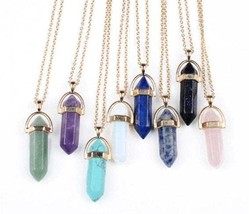 Crystal necklace, Healing Pendant Jewellery, gold color natural crystal ... - $10.50+