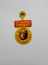 """Vintage  - """"I'M HELPING SMOKEY"""" PREVENT  FOREST FIRES Pin Excellent Cond... - $19.75"""