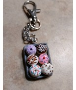 Cute Donut Tray Keychain Clay Food Bakery Frosted Breakfast Women's Acce... - $7.00