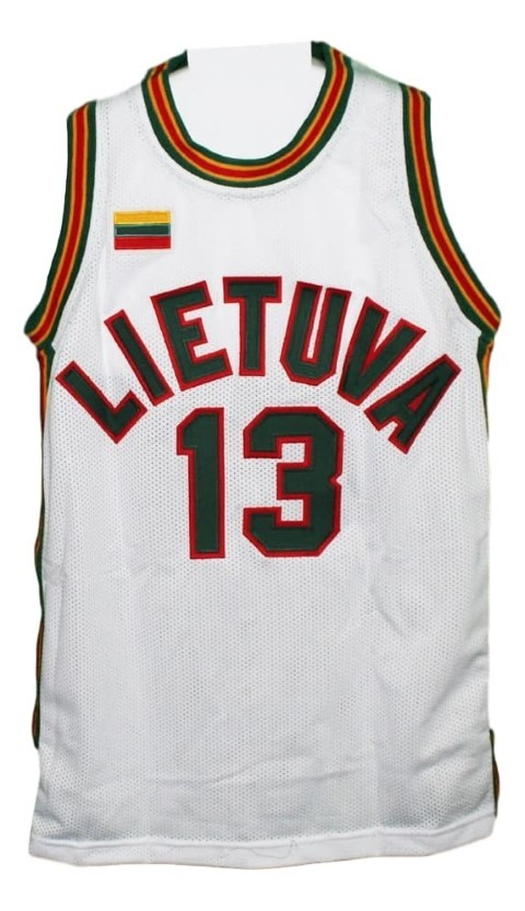 Sarunas Marciulionis #13 Lietuva Lithuania Basketball Jersey New White Any Size
