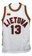 Sarunas Marciulionis #13 Lietuva Lithuania Basketball Jersey New White Any Size image 1