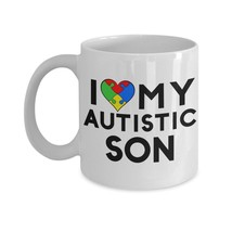 Autism Mom Coffee Mug I Love My Autistic Son Cup Jigsaw Heart Gift Idea ... - $13.92+