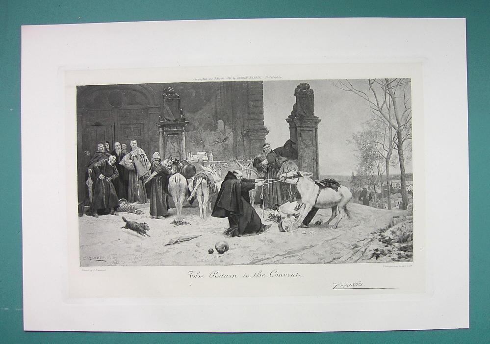 PRIESTS Return to Convent Stubborn Donkey - Antique Photogravure Print