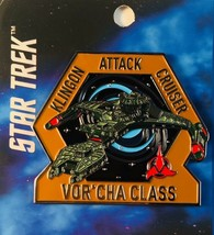 Star Trek Next Generation Klingon Vor'Cha Attack Cruiser Metal Enamel Pi... - $14.45