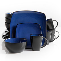 Gibson Soho Lounge 16 Piece Square Stoneware Dinnerware Set in Blue and ... - $82.07
