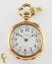 Waltham Ruby 14k Yellow Gold Open Face Antique Pocket Watch Size 0 15J 1901 - $925.74
