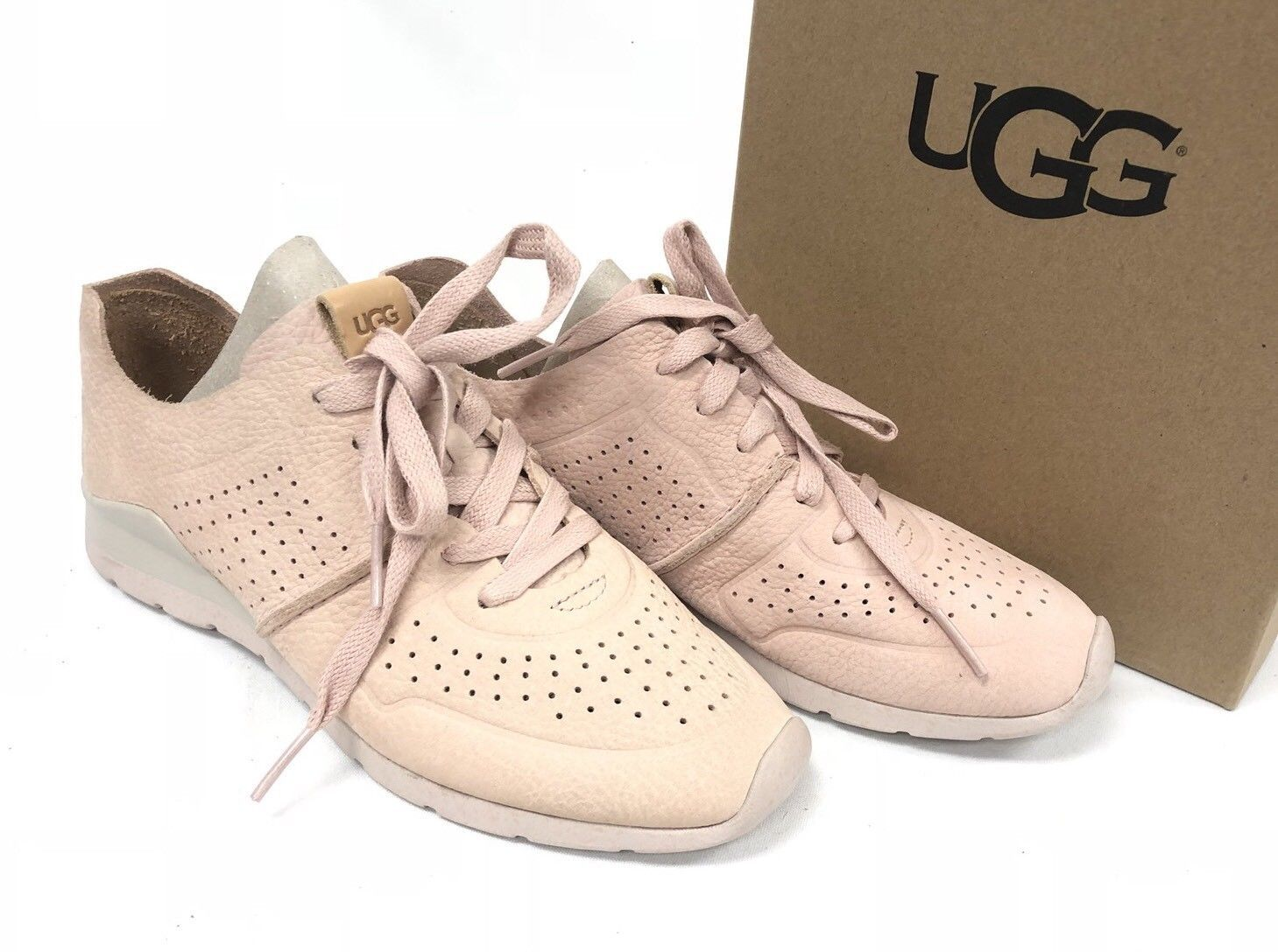 UGG Australia Tye Lace Up Leather Perforated Fashion Sneakers 1016674 Quartz 7