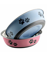 Pawprint Dog Bowls Rubber Base Stainless Steel Pet Dish Pick Blue or Red... - $13.75+