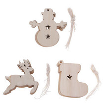 10Pcs Christmas Wooden Elk Snowman Sock Pendant Hanging Ornaments Home D... - €2,62 EUR+