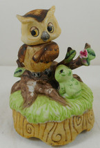 Ceramic Vintage Owl Music Box Sound Of Music - $17.81