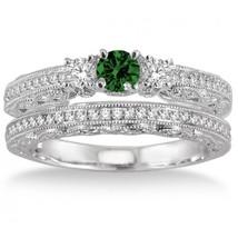 2 Carat Emerald & Simulated Diamond Antique Bridal set on 14k White Gold Over  - $99.99