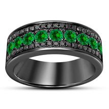 Green Sapphire And Black Diamond Mens Wedding Anniversary Band Ring 925 ... - £66.72 GBP