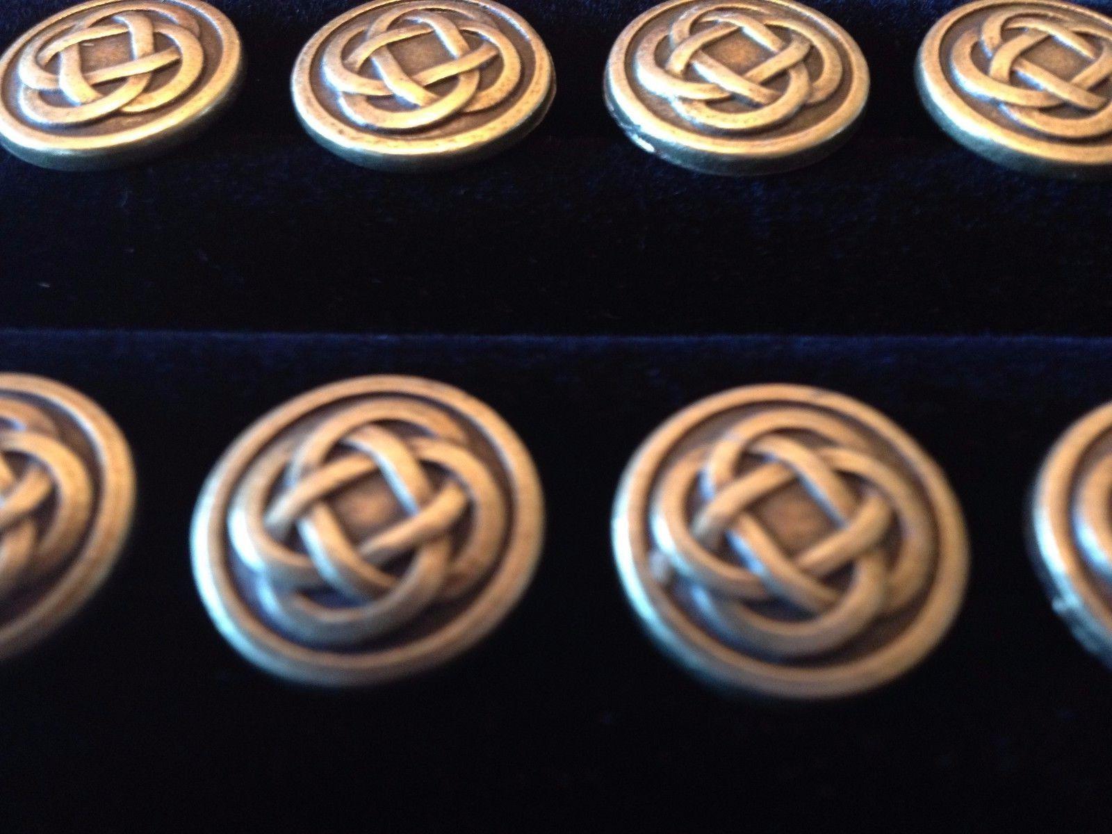 Bronze Metal Celtic Knotwork Buttons 1/2 inch British Classic Irish Set of 8