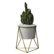 Planter Pots Indoor Modern Garden White Ceramic Round Bowl Metal Stand C... - $24.99