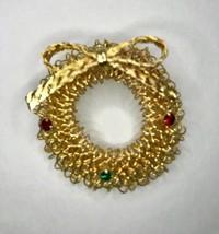 Vintage Multi-Colored Goldtone Rhinestone Mesh Circle Wreath Brooch Pin ... - $8.54