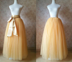 GOLDEN Elastic High Waist Floor Length Full Tulle Skirt Plus Size Wedding Skirts - $59.99