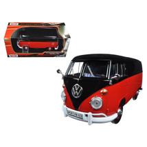 Volkswagen Type 2 (T1) Delivery Van Black and Red 1/24 Diecast Model Car... - $31.10