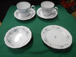 JOHANN HAVILAND Bavaria BLUE GARLAND- 2 CUPS & SAUCERS & FREE Berry & De... - $8.03