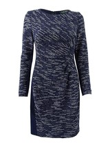 Lauren by RALPH LAUREN Long Sleeve Tweed Ruched Stretch Knit Dress NWOT 12P - $34.87