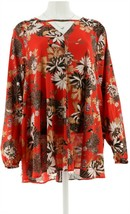 Du Jour Floral Printed Long Slv Tunic Red L NEW A300206 - $27.70