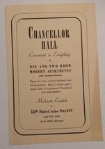 1940 Chancellor Hall Advertisement 13 Street below Walnut Philadelphia, PA - $18.00