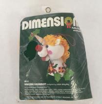 vintage 1982 dimensions puffie stuffins needlepoint kit unicorn ornament... - $16.78