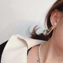 AUTH CHRISTIAN DIOR 2020 J'ADIOR DOUBLE PEARL GOLD STAR DANGLE FINISH EARRINGS image 5