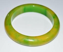 VTG Green Yellow Marbled End of Day BAKELITE TESTED Bangle Bracelet - $99.00