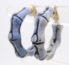 Vintage HONG KONG Gold Tone Purple Faux Plastic Bone Hoop Clip Earrings - $19.80