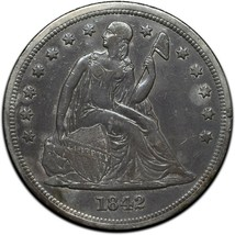 1842 Seated Dollar $1 Silver Coin Lot 519-3