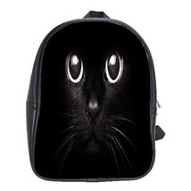 Backpack School Bag Cat Cute Funny Black Cat Face Animal Editions Video Game Fan - $33.00