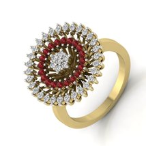 Red And White Diamond Ring Wedding Ring Simulated Diamond Halo Ring Gift... - $529.99