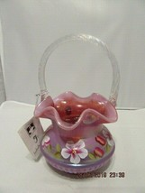 FENTON ART GLASS RASPBERRY ADAM'S RIB BASKET ~J, BURKHART - $99.99