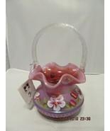FENTON ART GLASS RASPBERRY ADAM'S RIB BASKET ~J, BURKHART - $99.99