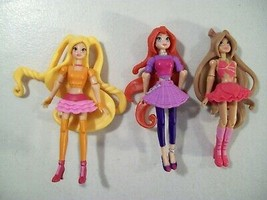 LOT OF 3 WINX CLUB MINI DOLL FIGURES STELLA BLOOM FLORA BELIEVIX CONCERT... - $16.61
