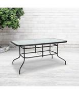 "31.5"" x 55"" Rectangular Tempered Glass Metal Table - $145.36"
