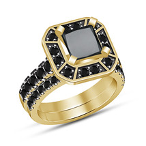 14K Yellow Gold Fn Round Cut Black Diamond Solitaire Bridal Engagement R... - $92.85