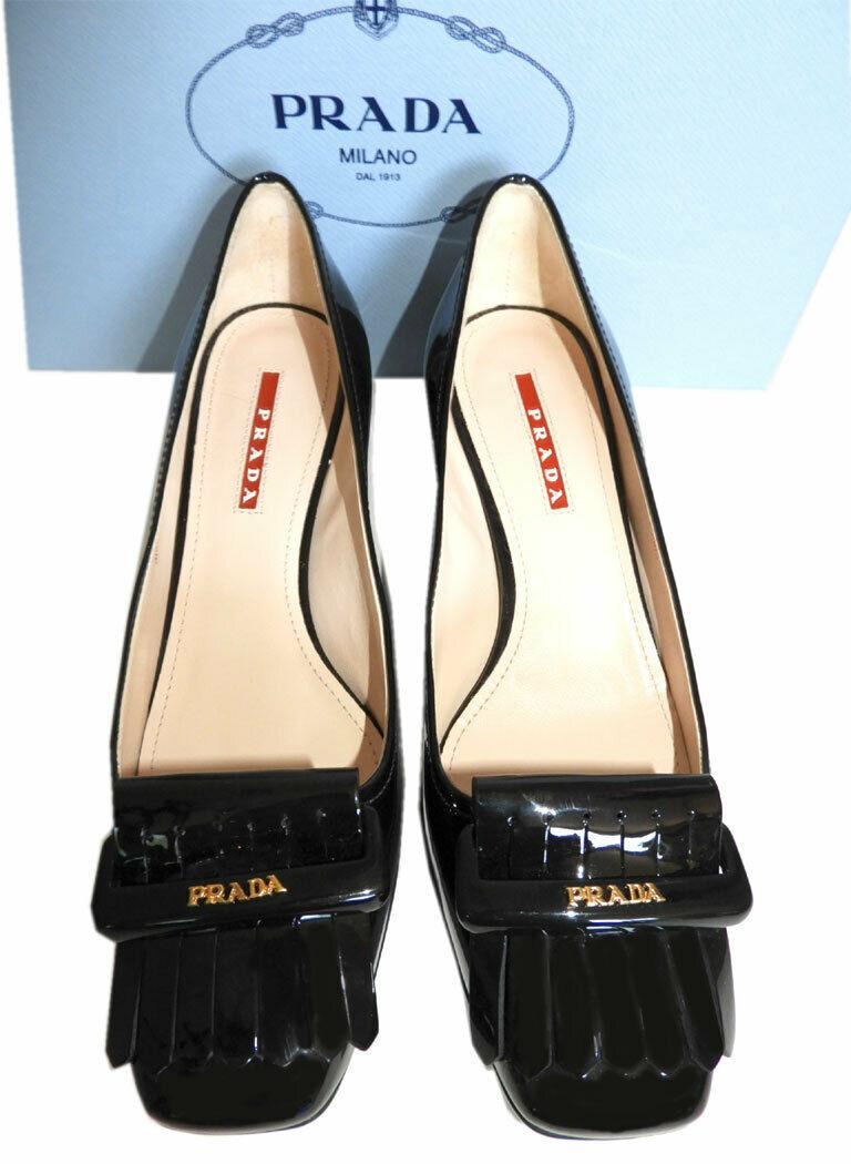 Prada Kiltie Low Heel Patent Leather Pumps Gold Logo Shoes 37 Fringes image 3