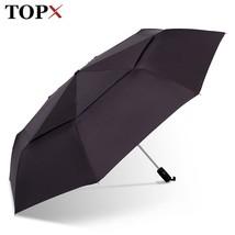 TopX® Big Automatic Quality Double Layer Umbrella Rain Women 3Fold Windp... - $32.47