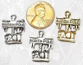 THE NORTH POLE SIGN FINE PEWTER PENDANT CHARM - 15mm L x 20mm W x 3mm D image 2