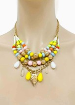 Multilayered Multi Strand Multicolor Beads Casual Everyday Necklace Earrings Set - $15.20