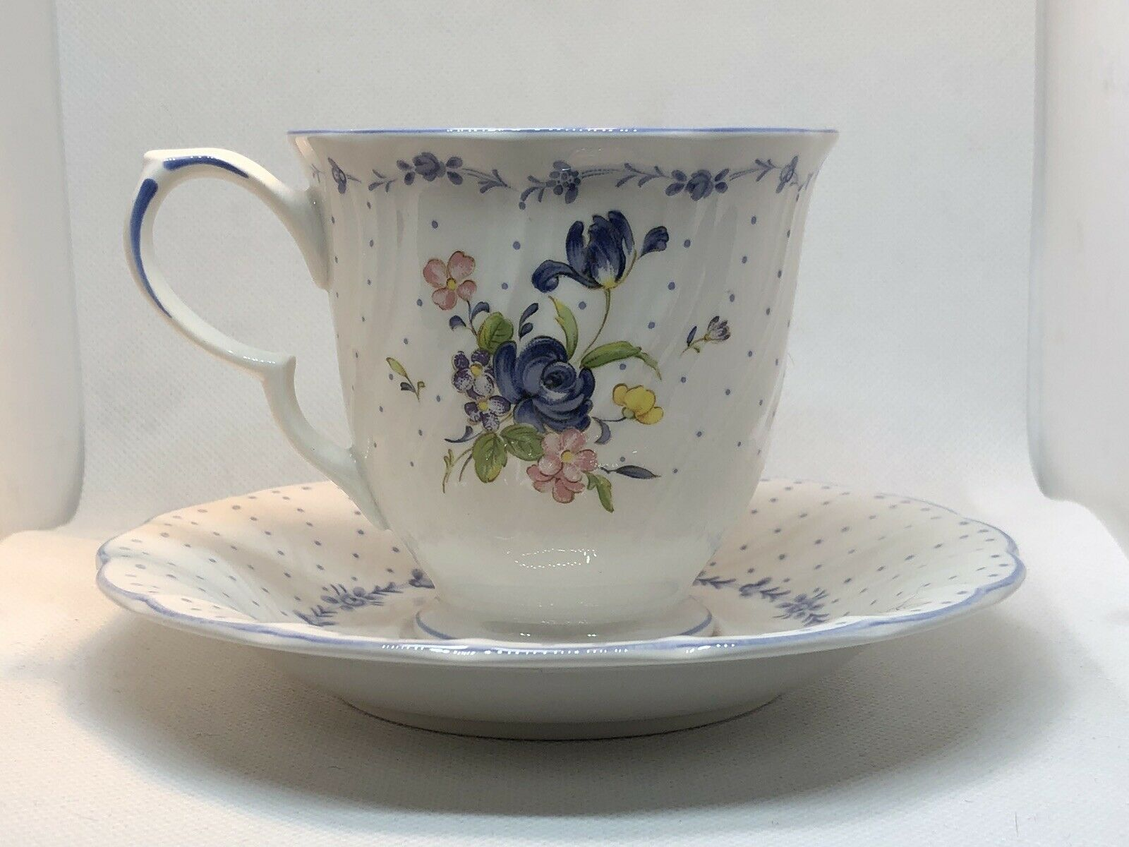 Nikko Blue Peony Cup and Saucer Fine China - $6.00