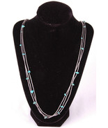 "Long Turquoise Bead Necklace-Metal-30""-Jewelry-Dangle-Stamped Metal Clasp - $93.49"