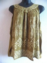 Top Fits 1X 2X 3X Plus Tunic V Neck Tank Green Batik Art A Shaped NEW RL338 - $18.99