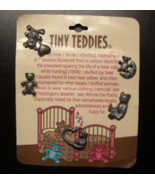 Tiny Teddies Five Tiny Metal Pinback Bears on Card with name origin info... - $8.99