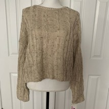 Vtg 80s 90s Liz Wear Sweater Cropped Cable Knit  Long Sleeve Oatmeal Uni... - $69.29