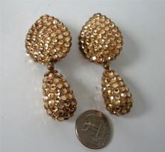 Vintage Designer Teardrop Crystal Encrusted Earrings Gold Like Richard K... - $29.69