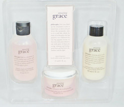 Philosophy Amazing Grace Eau De Toilette Body Scrub Creme Shower Gel Set... - $38.75