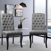 European Style Set of 2 Linen Dining Chairs - $170.00