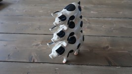 Vintage Painted 3 Stacked Pig Cast Iron Door Stop - $28.15